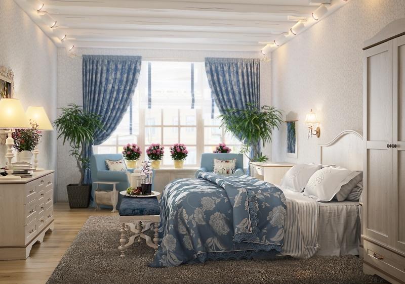 Шторы прованс в спальне