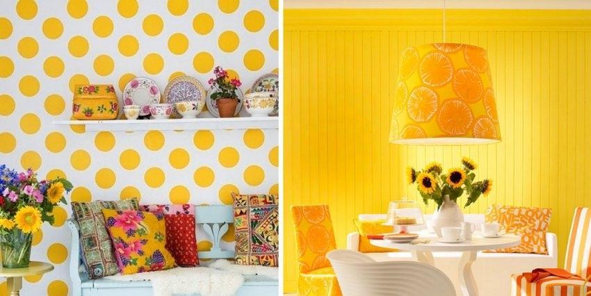 Желтые цветы в интерьере