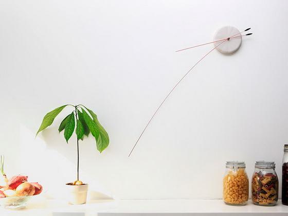 Минималистичные, необычные, дизайнерские, интерьерные часы с гибкими стрелками