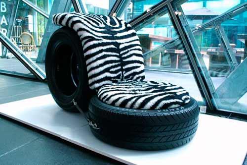 Кресло из старых шин