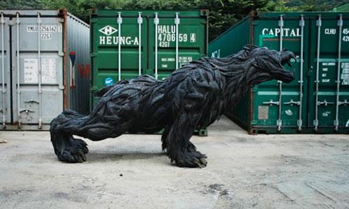 Скульптуры из старых шин, сделанные Йонг Хо Джи