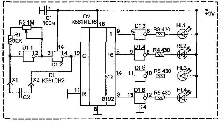 Схема пробника емкости неполярных конденсаторов