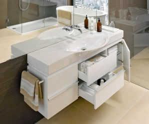 Тумбы с раковиной для маленьких и средних по размеру ванных комнаты