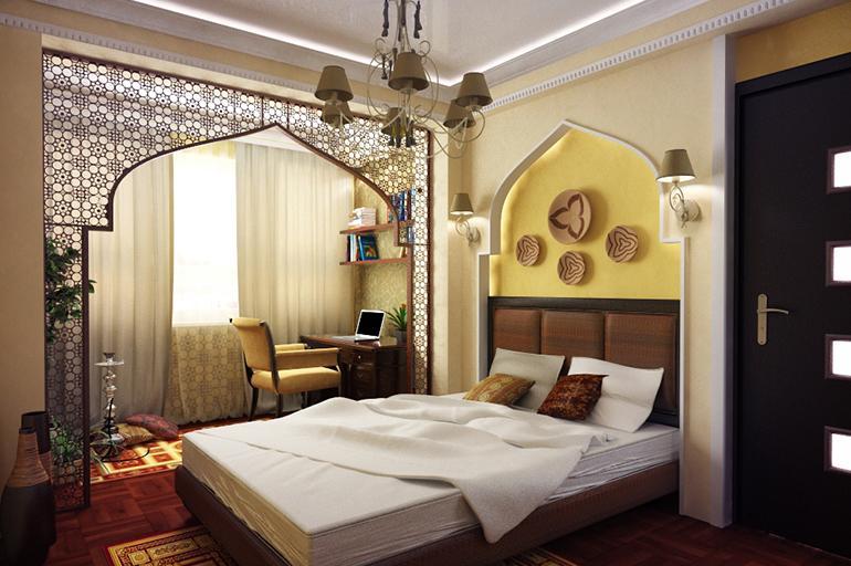 Спальня в восточном стиле оформления