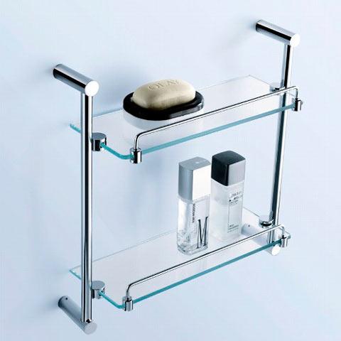Стеклянная угловая полка для ванной